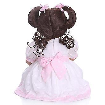 50Cm الشعر المجعد الطويل الأميرة طفل صغير فتاة لينة سيليكون بيبي دمية واقعية تولد من جديد لعب الأطفال brinquedos الطفل