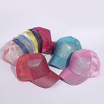 Baseball Ponytail Caps, Paljetit kiiltävä sotkuinen pulla snapback hattu (hopea / valkoinen)