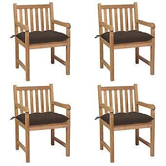 vidaXL sillas de jardín 4 piezas con cojín Taupe de teca de madera maciza