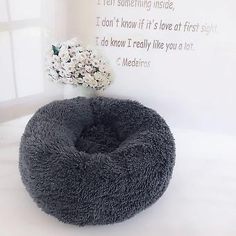 (Dunkelgrau) Haustier bett,Hund Katze Rund Warm Kuschelzwinger Soft Welpen Sofa Kissen Außendurchmesser 40 cm