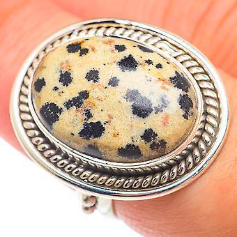 Bague dalmate jasper taille 7.25 (925 argent sterling) - Bijoux Boho Vintage faits à la main RING73873