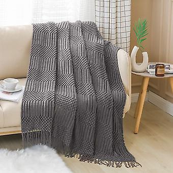 Texturerad kastfilt fast mjuk för soffa soffa dekorativ stickad filt, grå