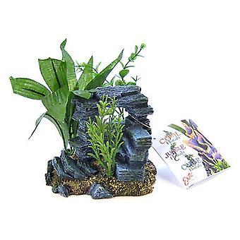 """Arco di roccia a nastro blu con ornamento per piante - Piccolo - 5,5 """"L x 4"""" L x 5,5 """"H"""