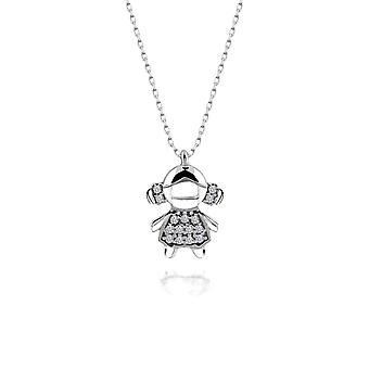 Certified Swarovski Cubic Zirconia Small Girl 925 Silver Necklace|Chain Necklaces