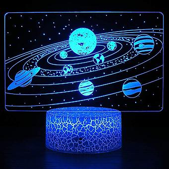 3d Solar System Optical Illusion Desk Lamp, Cosmic Space Galaxy Night Light For Children, Room Decoration Gifts For Boys And Girls