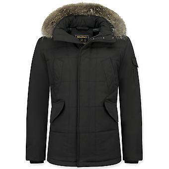 Long Winter coat Large Fur Collar - Parka - Black Brown