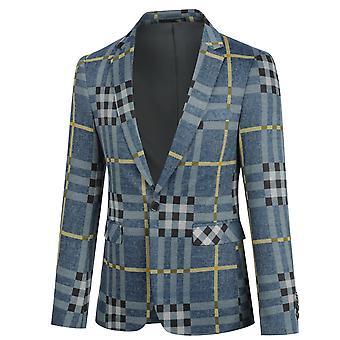 Yunyun Costume décontracté Blazer Veste Plaid Stripe Manteau