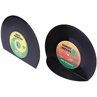 Retro Vinyl Bookends Black Record Book Ends Classic Cd Vintage Decorative Bookends For Shelves Nonskid Bookend Supports Black 1pair