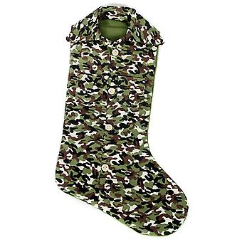 Hunters Green Camo Shirt Print Christmas Holiday Stocking 13 Inch