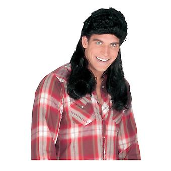 Super Mullet Black 80s Old School Redneck Men Costume Wig