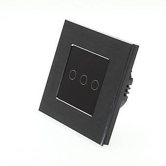 Я LumoS черный матовый алюминий 3 Gang 1 способ удаленного WIFI / 4G сенсорный Светодиодные переключения черные вставки
