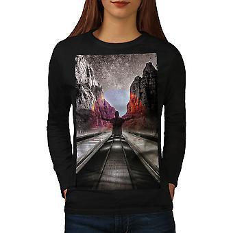 Canyon Man Women BlackLong Sleeve T-shirt   Wellcoda