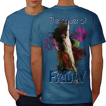 Friday Classic Art Funy Men Royal BlueT-shirt Back | Wellcoda
