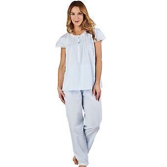 Slenderella PJ1272 Women's Lace and Pintucks Blue 100% Cotton Pajama Capped Sleeve Pyjama Set