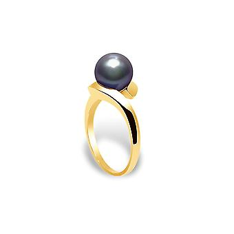 7 mm AA Black Culture Pearl Women's Ring and Yellow Gold 375/1000 5007