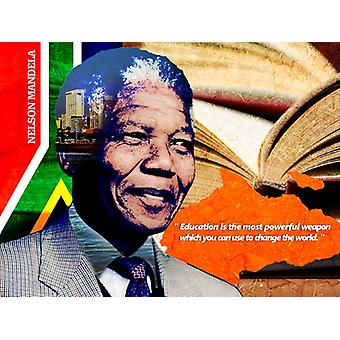 Nelson Mandela Poster Education Is Powerful Weapon Art Print (24x18)