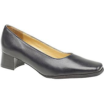 Amblers Ladies Walford Slip su Wide Fit in pelle formale Court Shoe Navy