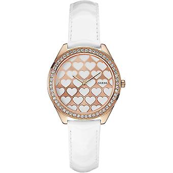 Guess Ladies Watch 'Love' Hearts Dial White Leather Strap W0543L1