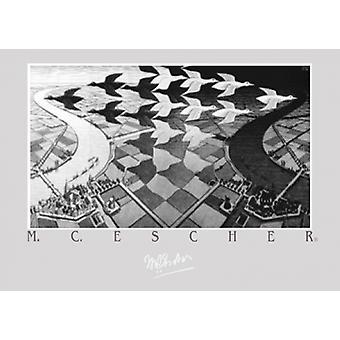 Dag och natt affisch Skriv av MC Escher (27 X 19)