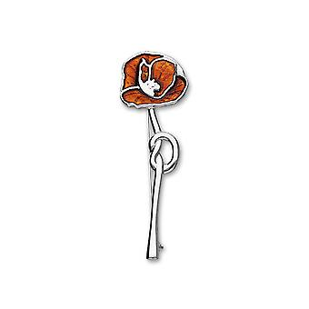 Sterling Silver Traditional Remembrance Poppy Design Brooch - Hot Glass Enamel