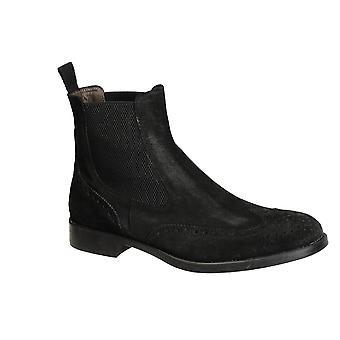 Männer aus schwarzem Veloursleder Flügelspitze Brogue-Stiefel chelsea