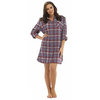 Ladies Foxbury Plaid Check Print Shirt Style Nightdress Nighty Sleepwear