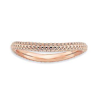 2.25mm 925 sterling sølv teksturert mønstret stables uttrykk polert rosa plate bølge ring smykker gaver til wome