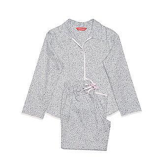 Minijammies 5272 Girl's Sienna White Leaf Print Cotton Pajama Pyjama Set