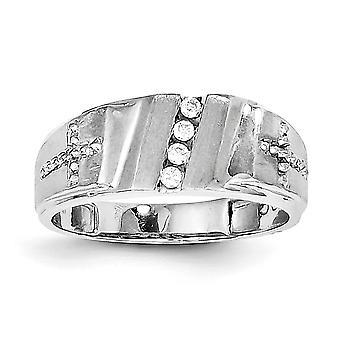 925 Sterling Argento lucido Rhodium placcato Rhodium Plated Diamond e Cross Mens Ring - Anello Dimensione: 9 a 11