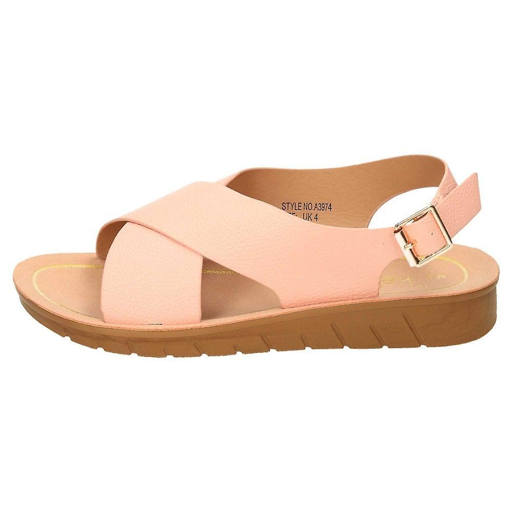 Dr Keller Pink Slingback Kile Åpen Tå Crossover Sandaler