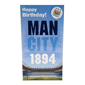Manchester City FC Geburtstagskarte und Abzeichen