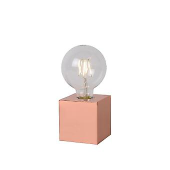 Lucide Cubico Vintage Square Metal Copper Table Lamp