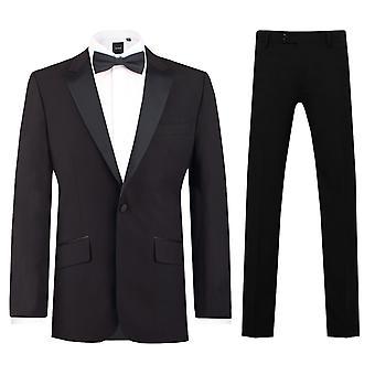 Dobell Herre sort 2 stykke smoking Slim Fit Peak revers aften middag Suit