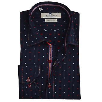 Клаудио Lugli темно чек с местом печати Мужская рубашка