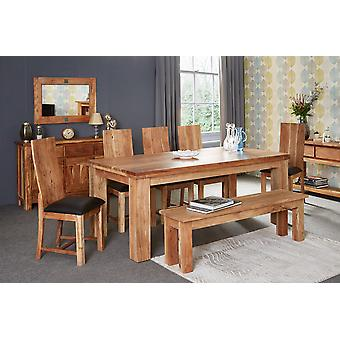 Stone Acacia 200cm Dining Table Set with 8 Chairs