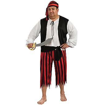 Pirate Jack Sparrow Captain Cutthroat Caribbean Book Week Mens Costume Plus Size