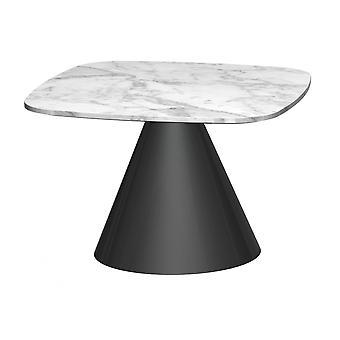 Gillmore Vierkante marmeren bijzettafel met conische zwarte basis
