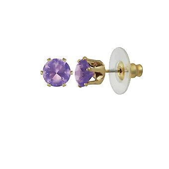 Eterna coleção Tara ametista cristal ouro tom Stud piercings brincos