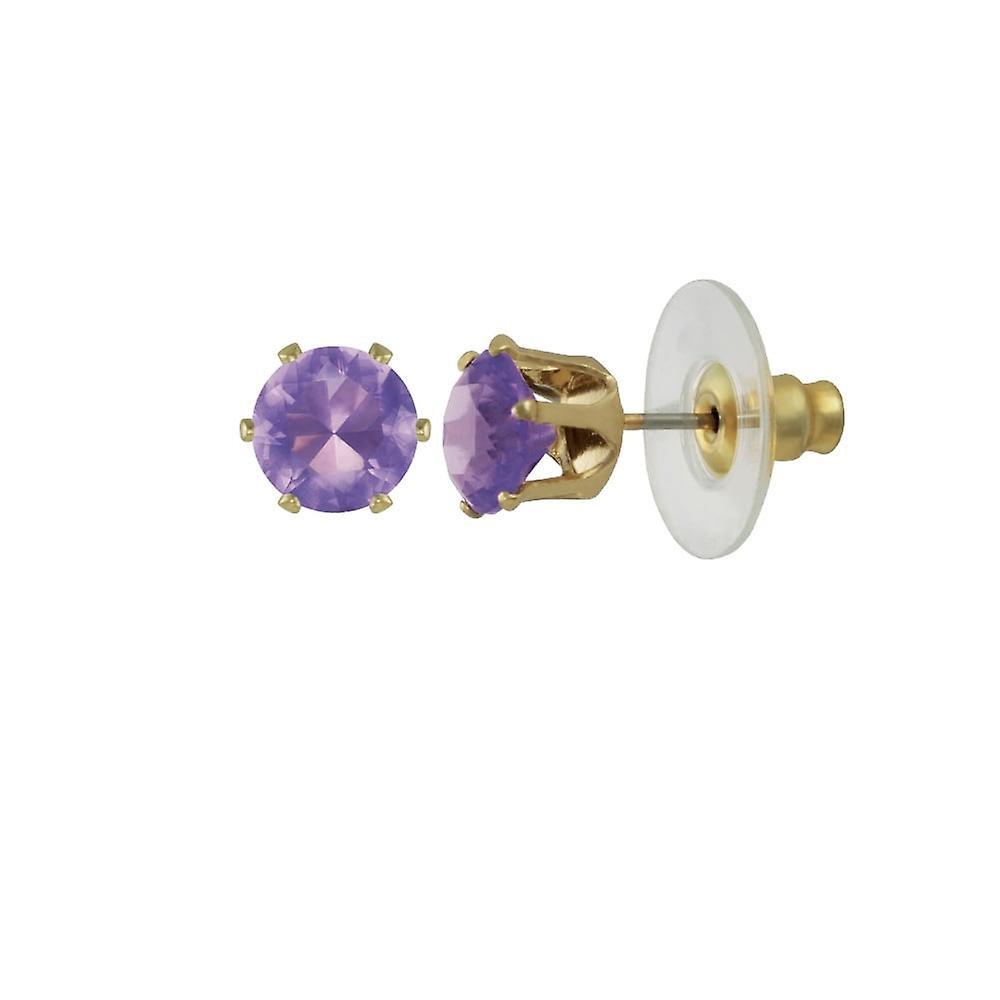 Eternal Collection Tara Amethyst Crystal Gold Tone Stud Pierced Earrings