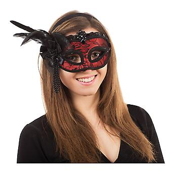 Bristol Novelty Womens/Ladies Side Feather Lace Mask