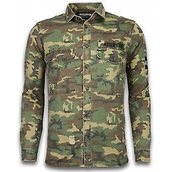 - Slim Fit Long Sleeves - Camouflage Pattern - GreenIsh Brown