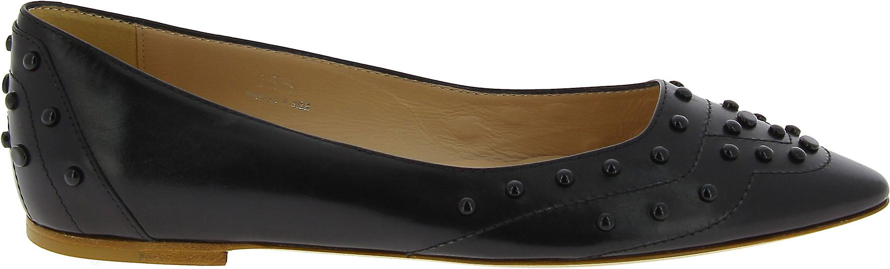 Tod's Women's Fashion Pointed toe studded ballet flats shoes in black leather