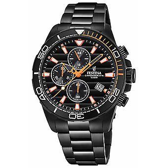 Festina Mens Black PVD Plated Bracelet Black Chrono Dial F20365/1 Watch
