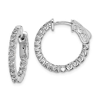 925 Sterling Silver Hinged Polished Safety clasp CZ Cubic Zirconia Simulated Diamond Round Hoop Earrings Jewelry Gifts f