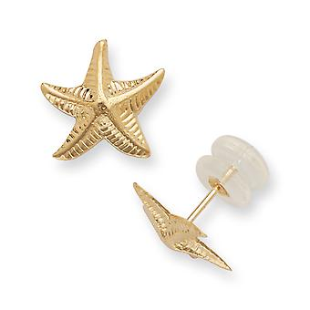 14k Yellow Gold Textured Polished Sea shell Nautical Starfish Post Earrings Jewelry Gifts for Women
