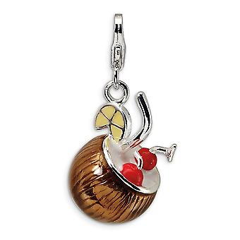 925 Sterling Silver Polished Rhodium plated Fancy Lobster Closure 3 D Enameled Pina Colada With Lobster Clasp Charm Pend