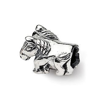 925 Sterling Silber poliert Finish Reflexionen SimStars Kinder Pferd Perle Anhänger Anhänger Halskette Schmuck Geschenke für Frauen