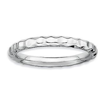 925 sterling silver polerad mönstrad rodium-pläterade stapelbara uttryck Rhodium hamrade Ring-Ring storlek: 5 till 10