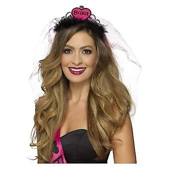 Womens Black & Pink Braut BrideTiara Hen Party Accessory
