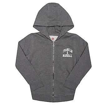 Junior jongens Franklin en Marshall badge logo Zip Hoody in houtskool-zip